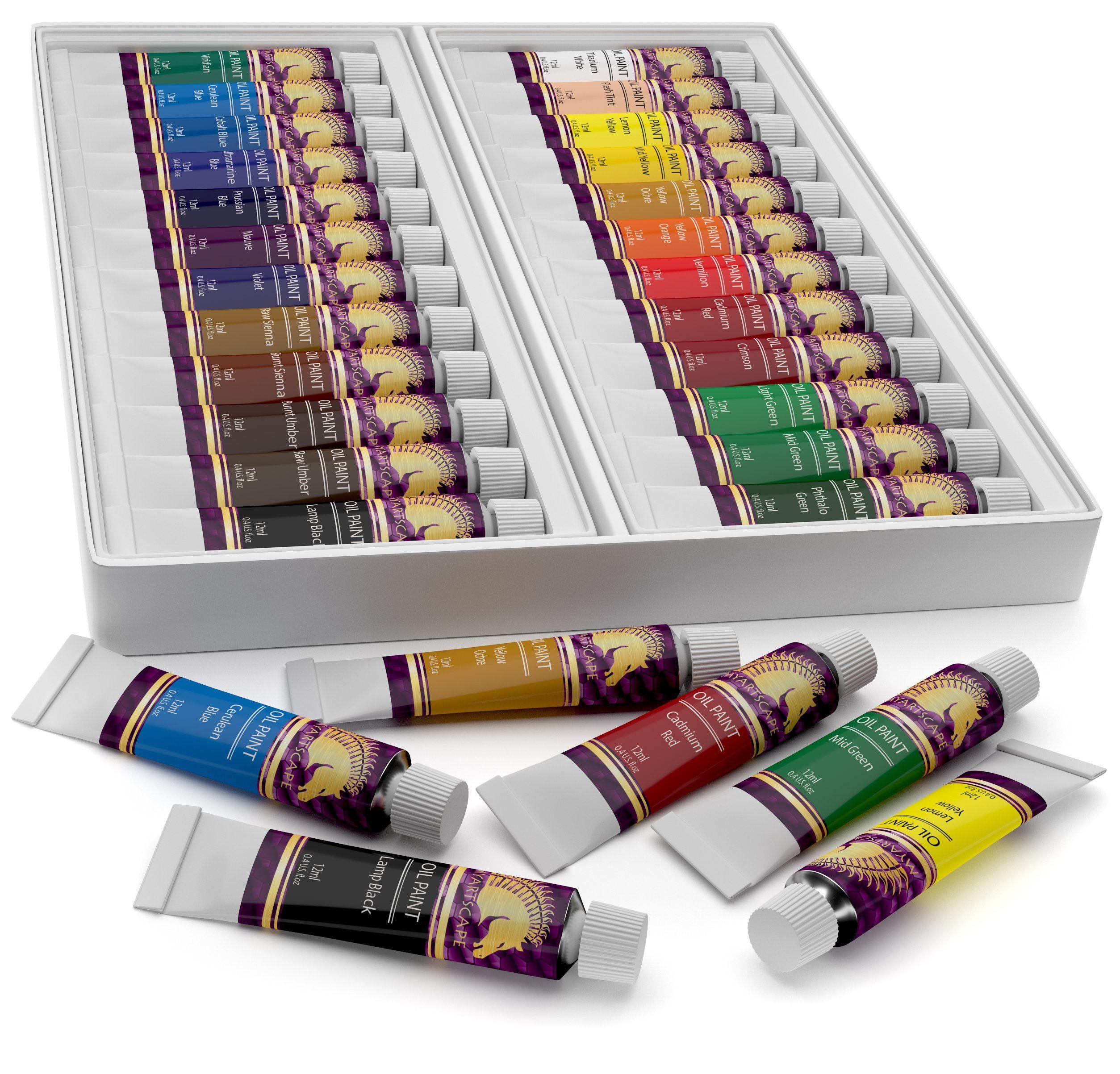 Oil Paint Set 12ml x 24 Tubes Artists Quality Art Paints