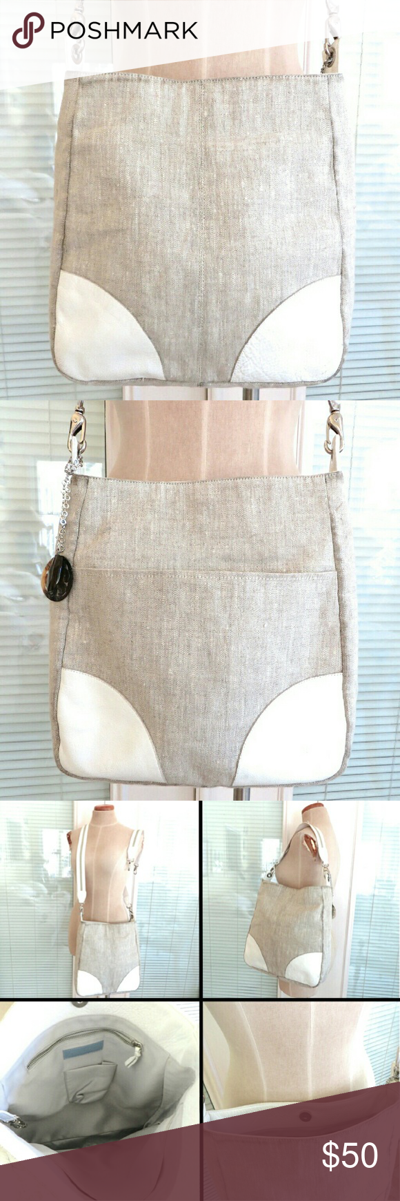 Kammi Reiss Linen Leather Trim Large Crossbody Bag Beige And White Trin