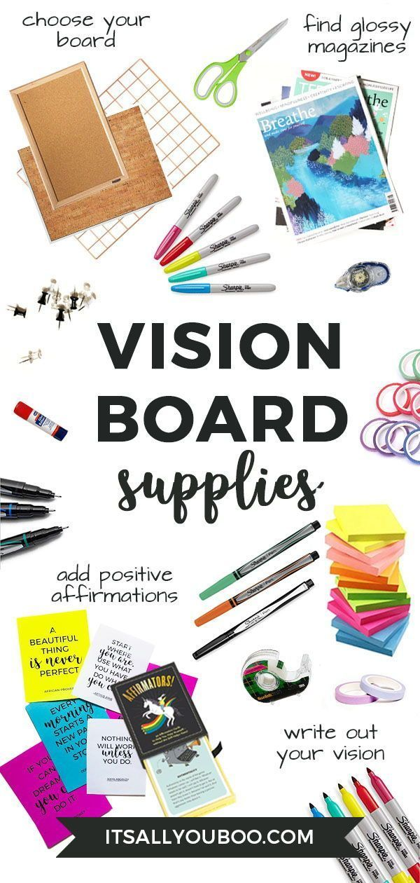 Ready to create your vision board for your dreams and aspirations? Click here for everything you need to create a DIY vision board to manifest your intentions, including a list of supplies and steps to take. Plus, get FREE inspirational Printable quotes. #VisionBoard #Visualization #Dreams #Aspirations #Manifest #Positivity #LOA  #LawOfAttraction #Affirmations #AbrahamHicks #PositiveMindset #Affirm #Believe #ManifestMoney #ManifestLove #Vibration #Energy #Intentions #LifePlanning #LifeGoals #Vis