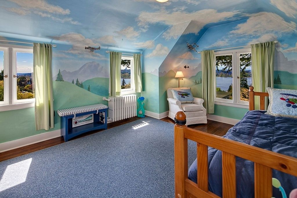 Traditional Kids Bedroom with Hardwood floors, flush light, Cathedral ceiling, Carpet