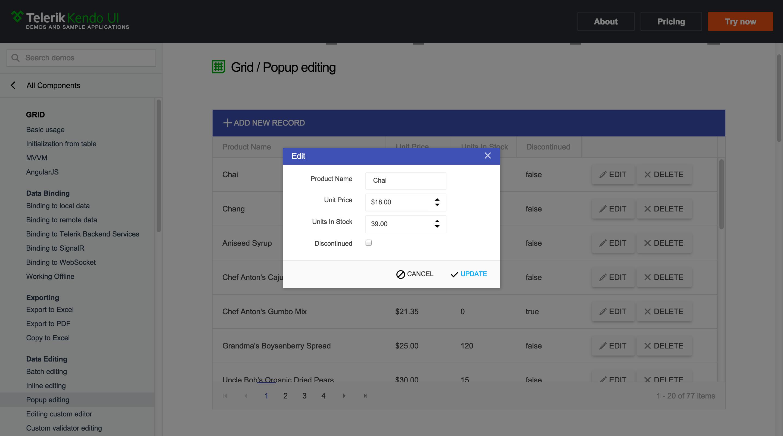 Popup data editing example for Kendo UI Grid widget | Admin