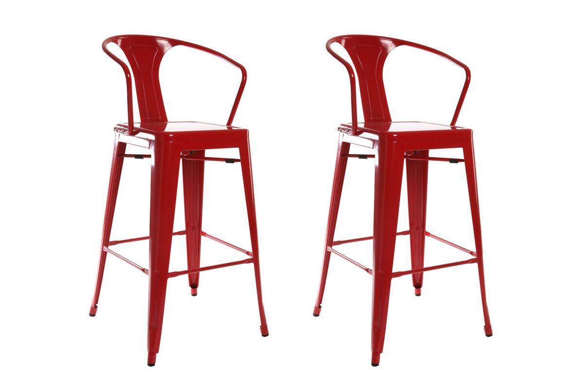 lot de 2 chaises hautes design industriel métal rouge factory xl ... - Chaises Hautes De Cuisine