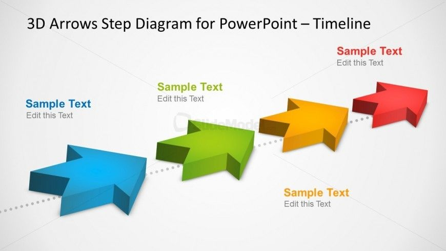 Milestones Timeline Template With D Arrows In Powerpoint  Template