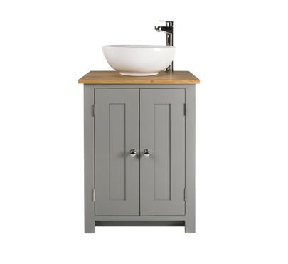 Solid Oak Bathroom Vanity Unit Basin Floor Cabinets Marble Bowl ...