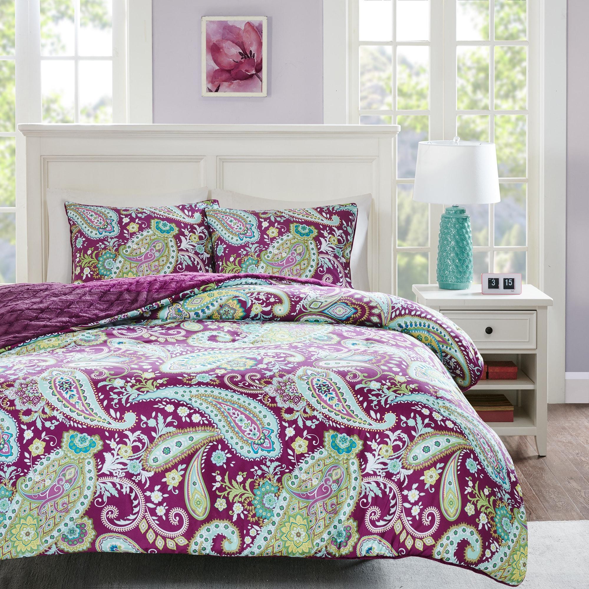 Intelligent Design Kayla Printed Reversible Comforter Mini Set 2 Color Option Comforter Sets Comforters Bedding Sets