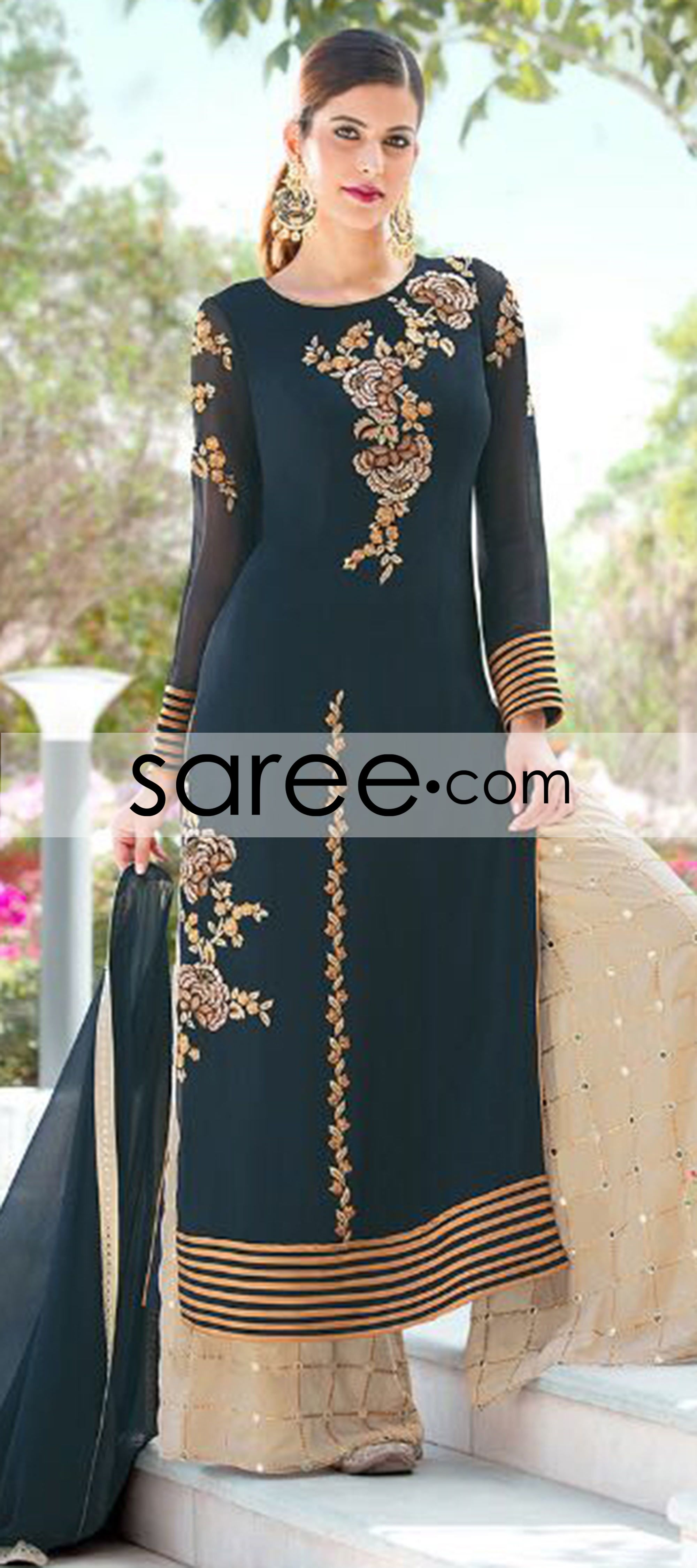 Blue georgette suit with zari embroidery work pinterest
