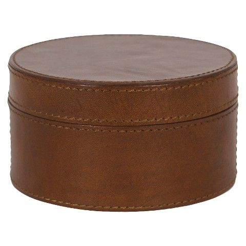 "Round Decorative Boxes Classy Leather Tobacco Round Decorative Box  Brown 5""  Decorative 2018"