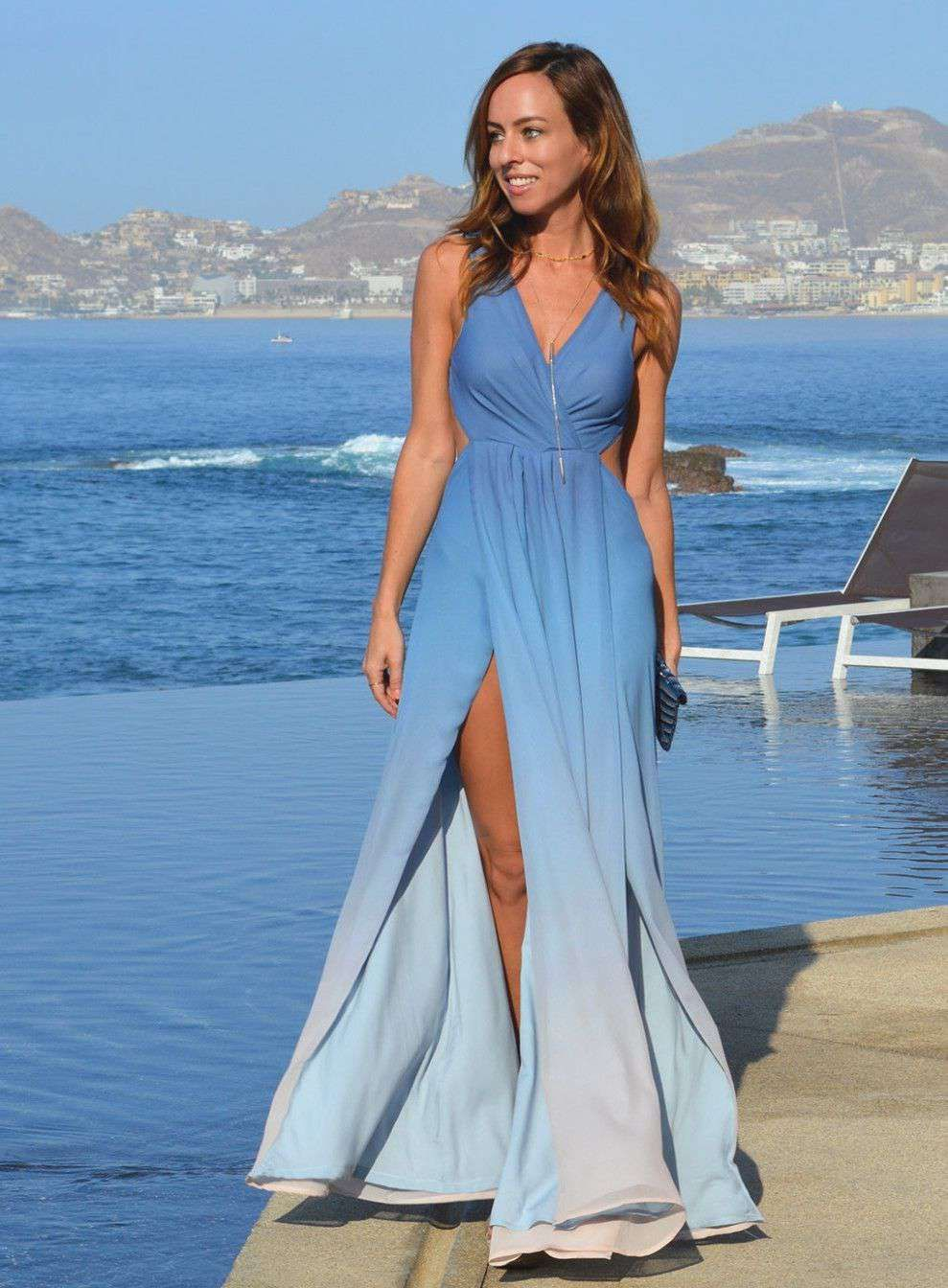 Blue Ocean Beach Wedding Guest Dresses Beach Wedding Guest Attire Wedding Guest Dress Summer Beach Wedding Outfit Guest