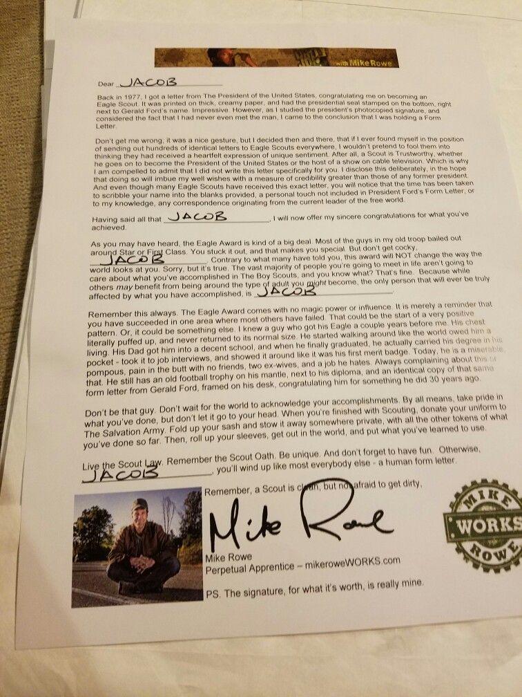 Mike Roe eagle scout congratulations letter Scouting Pinterest - congratulations letter