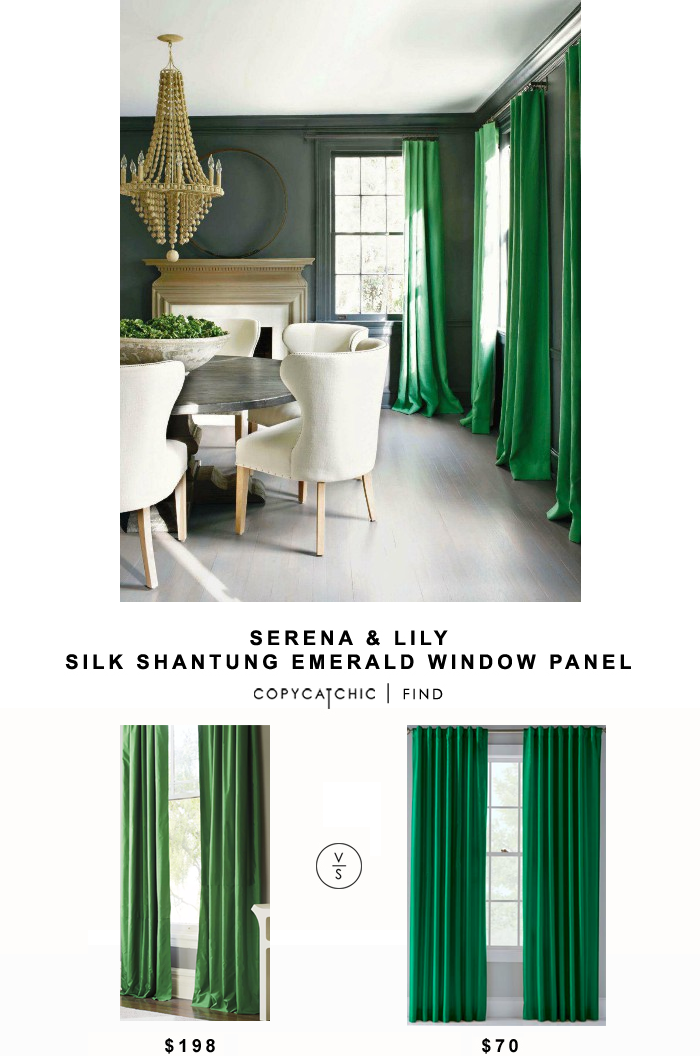 Serena And Lily Silk Shantung Emerald Window Panel Green Dining