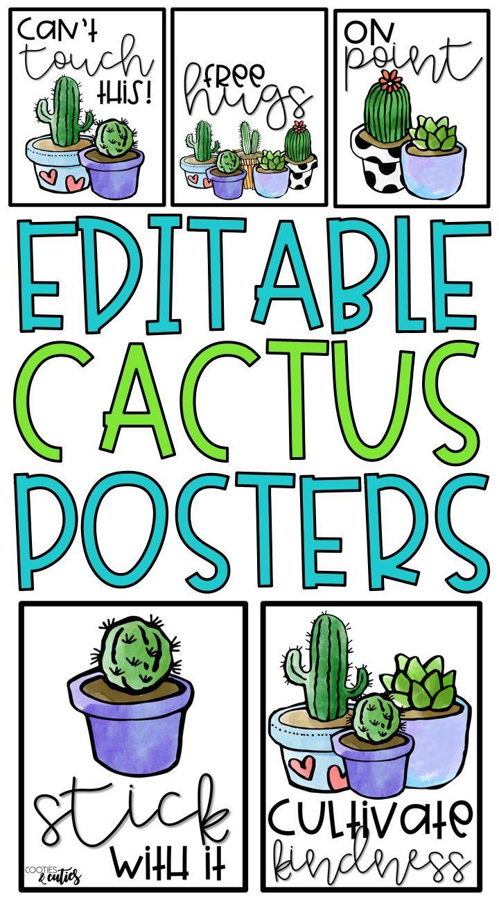 Cactus Decor | Cactus Theme | Motivational Posters