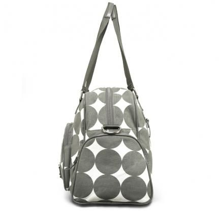 "OOYOO diaper bag ""Labor of Love"" dots dove gray medium duffel - side view"