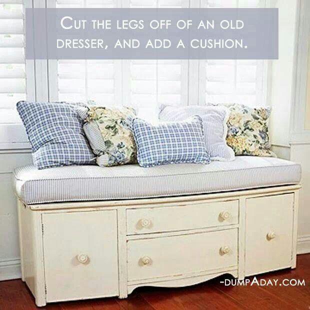 Window seat old dresser