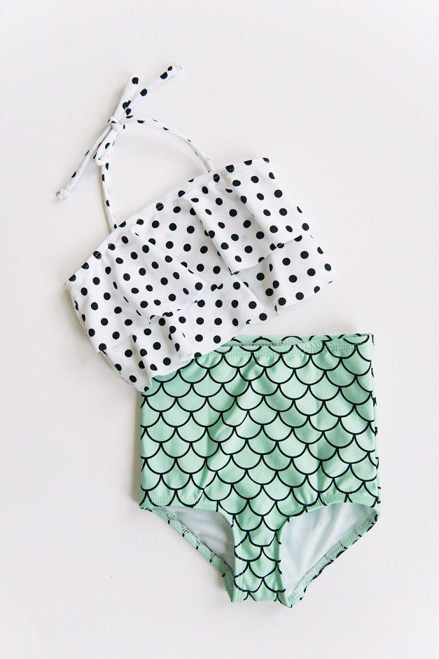 0ed7f3858cd7 Girls mermaid print and polka dot high waist and ruffle top bikini by  Whimsy Tails