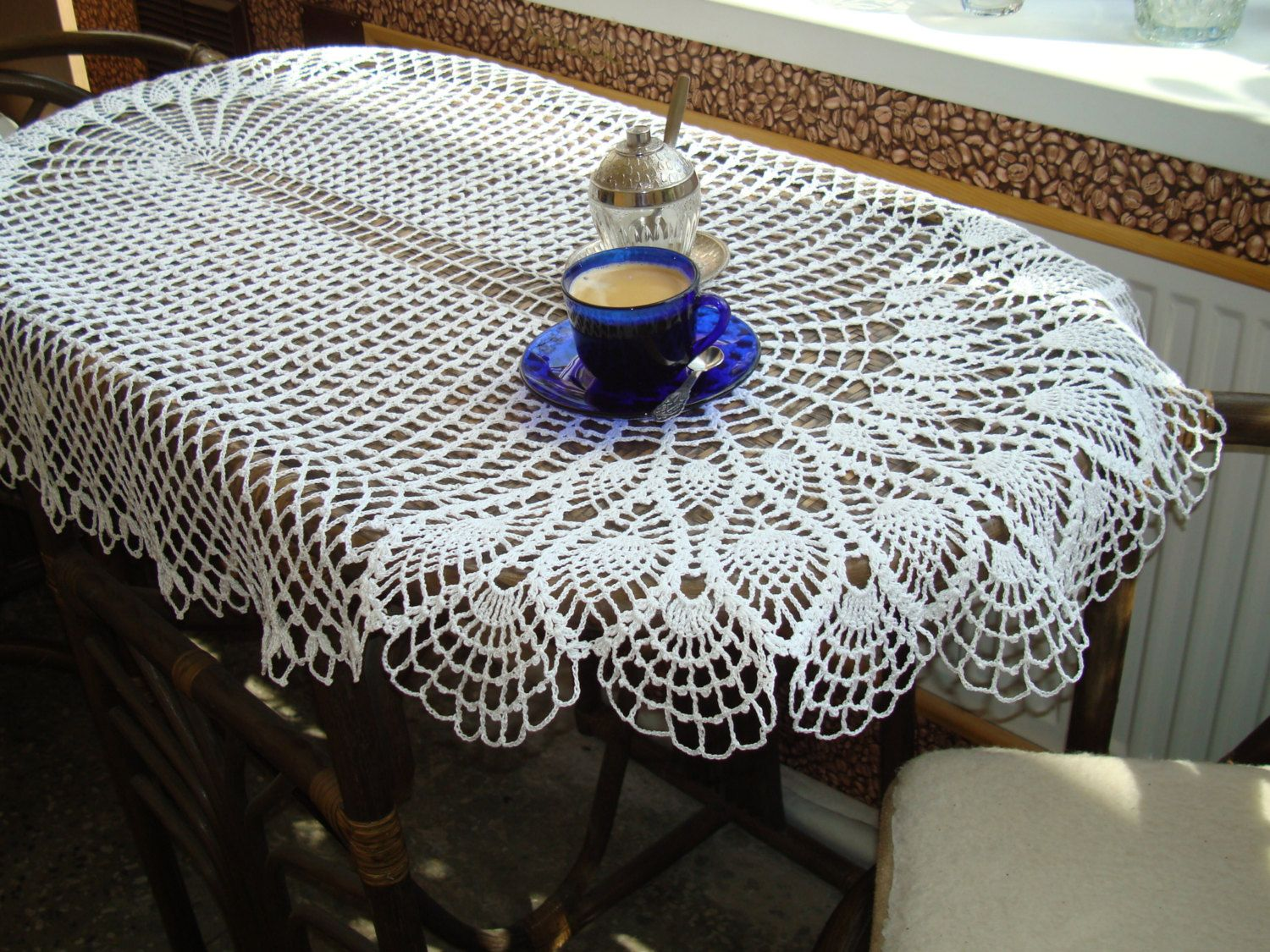 Charming Oval Table Topper White Crocheted Tablecloth Handmade Big Lace Table Runner  Table Center Wedding Table Topper