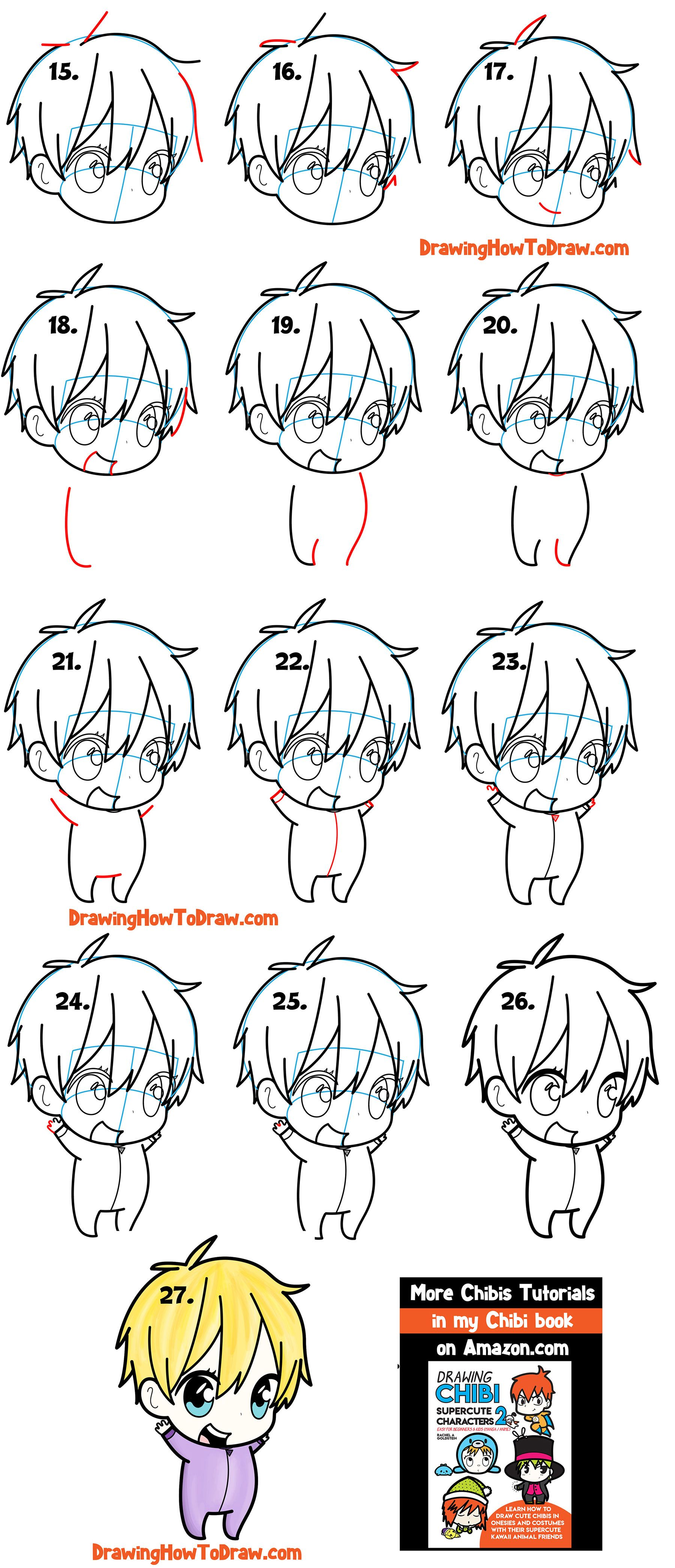 How to draw a cute chibi boy easy step by step drawing