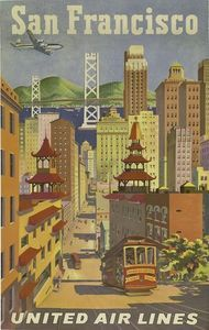 1950's United Airlines San Francisco Travel Poster