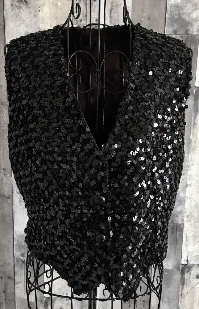 Vintage Sequin Metallic Vest Top Blouse Black Bling Black