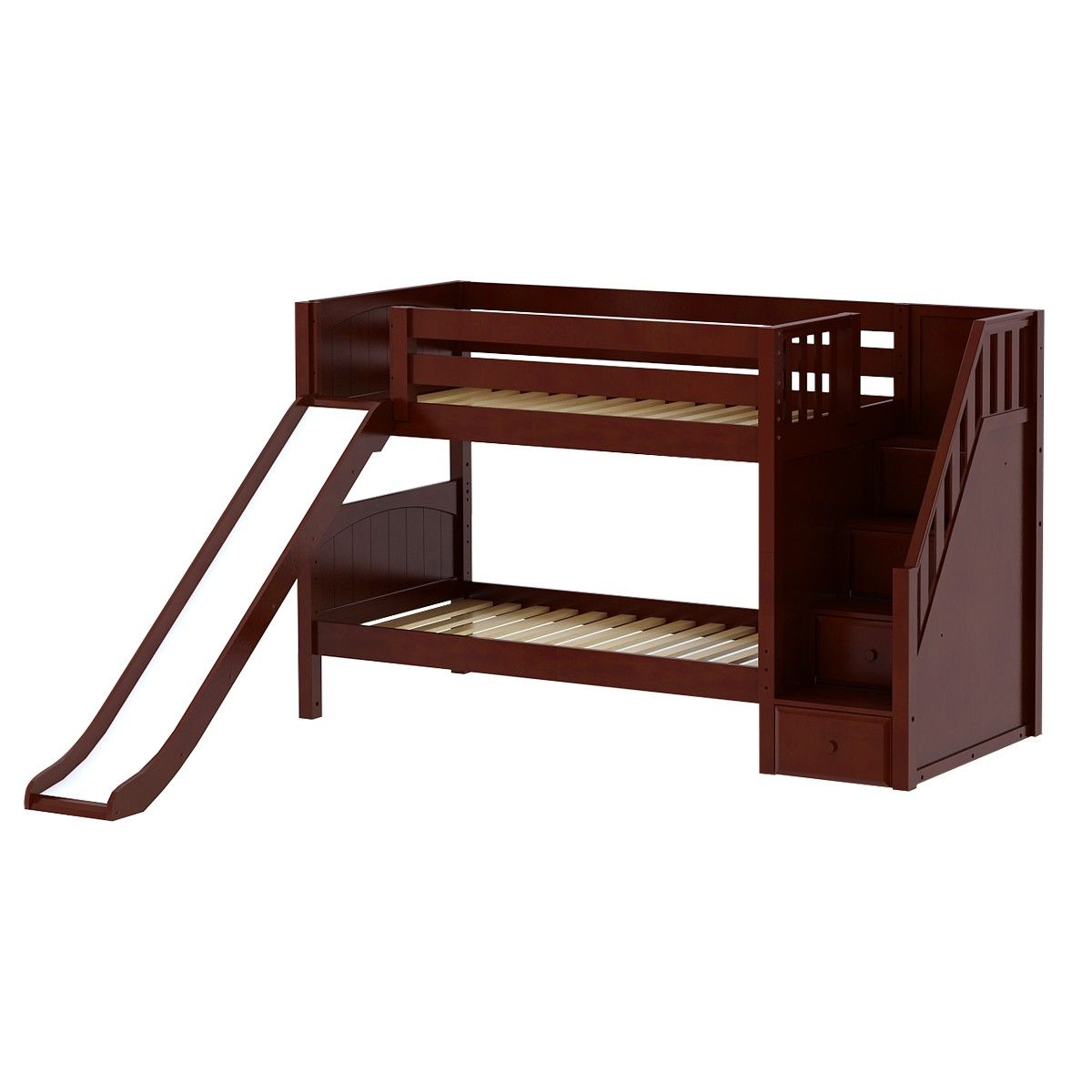 Twin low loft bed with slide  SNIGGLE CP  Low Bunk Bed with Staircase and Slide Twin  Chestnut