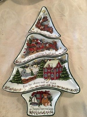 Portmeirion Christmas Story Susan Winget 4 Piece Server Section Tree ...