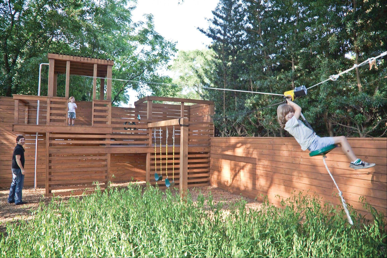 Backyard Zip Line Ideas   Backyard play, Play area ...