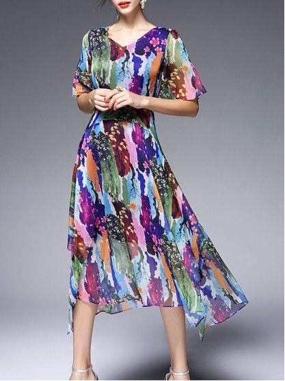Chiffon v-neck midi dress