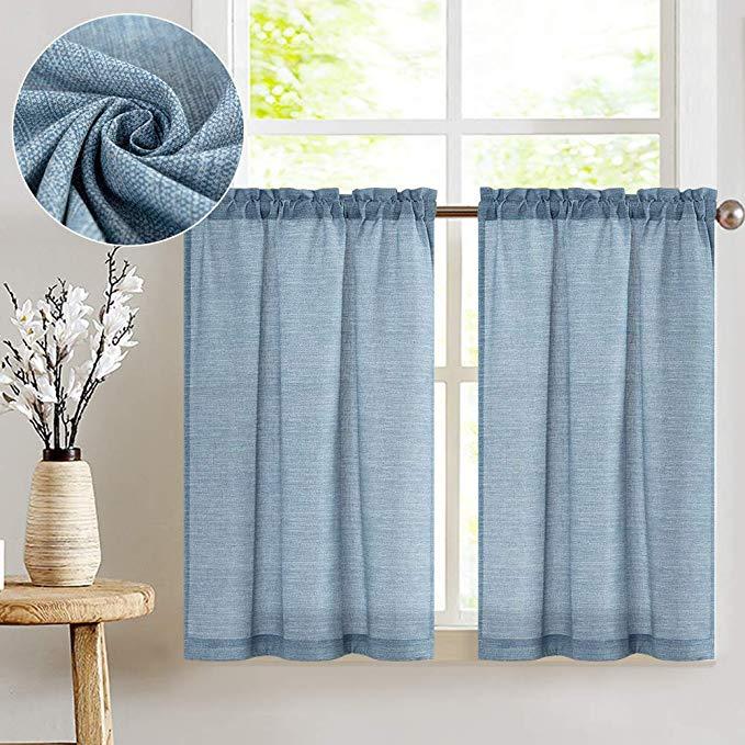 Jinchan Tier Curtains Linen Textured 36 Inches Long