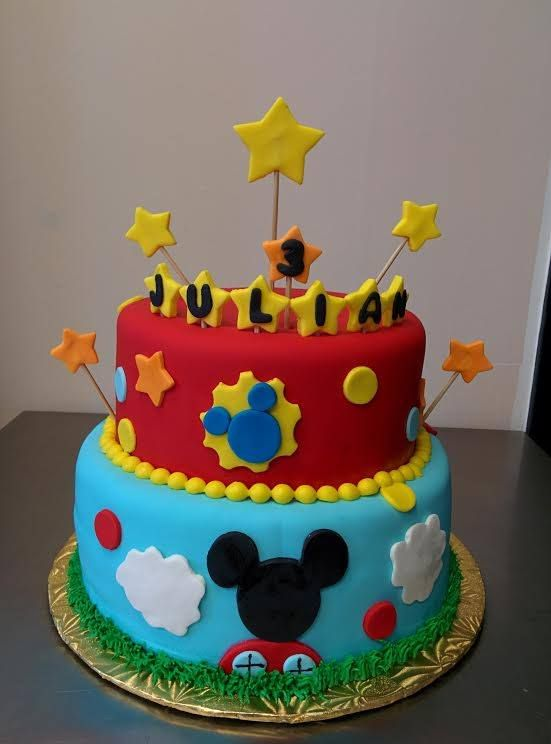 Swell Mickey Mouse Clubhouse Cake For A Boys 3Rd Birthday With Images Personalised Birthday Cards Xaembasilily Jamesorg