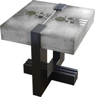 Trinity side table in etched zinc and ebonized walnut by Studio Roeper