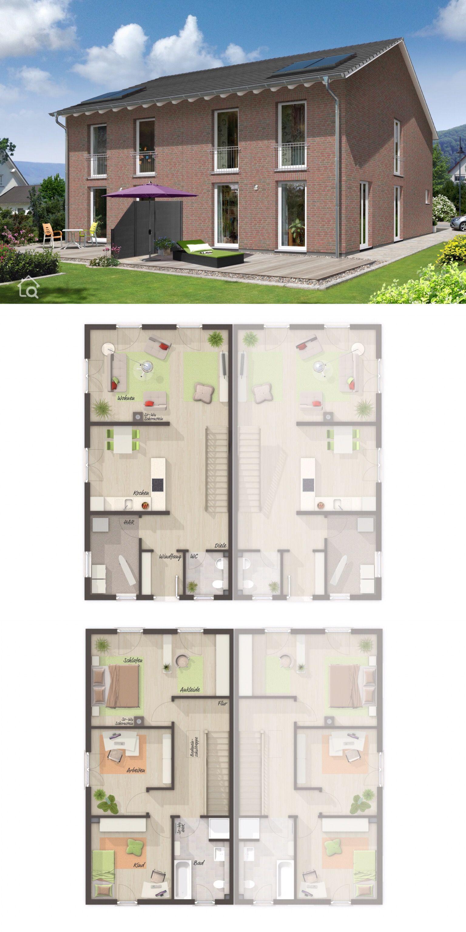 Moderne Doppelhaushälfte Grundriss schmal mit Satteldach