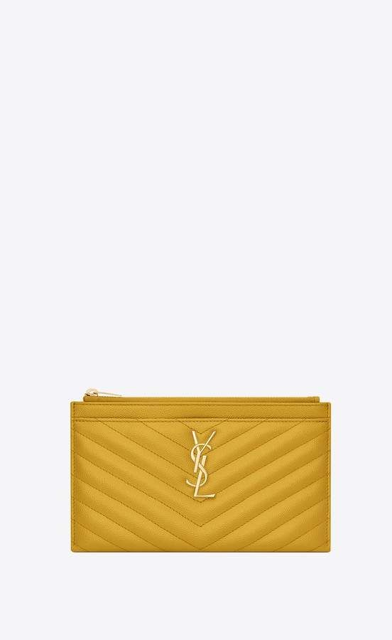 56182184f6 Saint Laurent Monogram Bill Pouch In Grain De Poudre Embossed Leather
