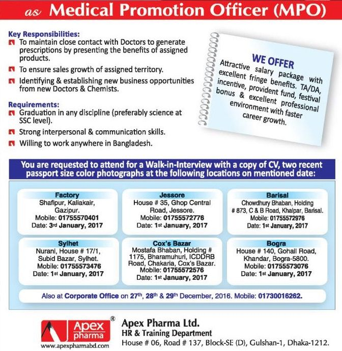 Medical Promotion Officer Apex Pharma Job Circular  Job Circular