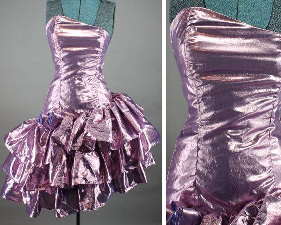 9fba9d20e6cc Vintage 80s Prom Dress Purple Metallic Lame Ruffled Tiered Prom ...