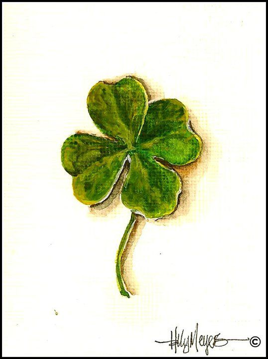 Four Leaf Clover Miniature Watercolor Painting Clover Painting