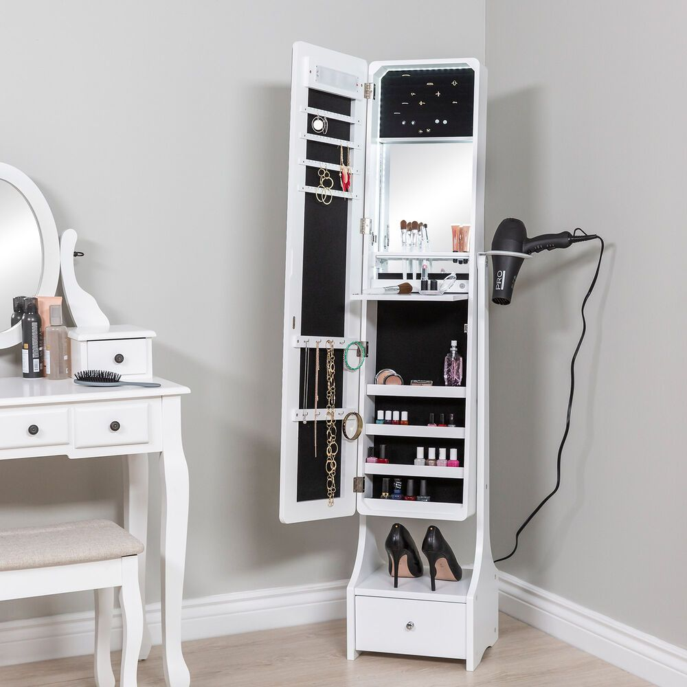Full Length Standing Led Mirrored Jewelry Makeup Storage