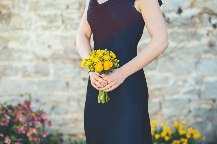 Bouquet Flowers Bridesmaid Yellow Navy Spring Country Barn Wedding http://bigbouquet.co.uk/
