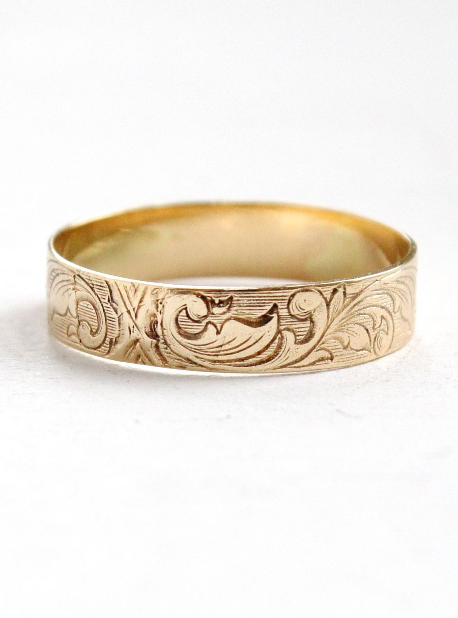 Antique Art Nouveau 10k Yellow Gold Men S Wedding Band Ring Size 11 Vintage Early 1900s Fl Vine Fine Jewelry