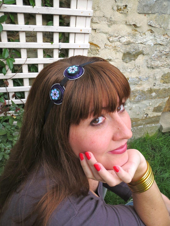 Headband rétro et original avec capsules nespresso et perles colorées