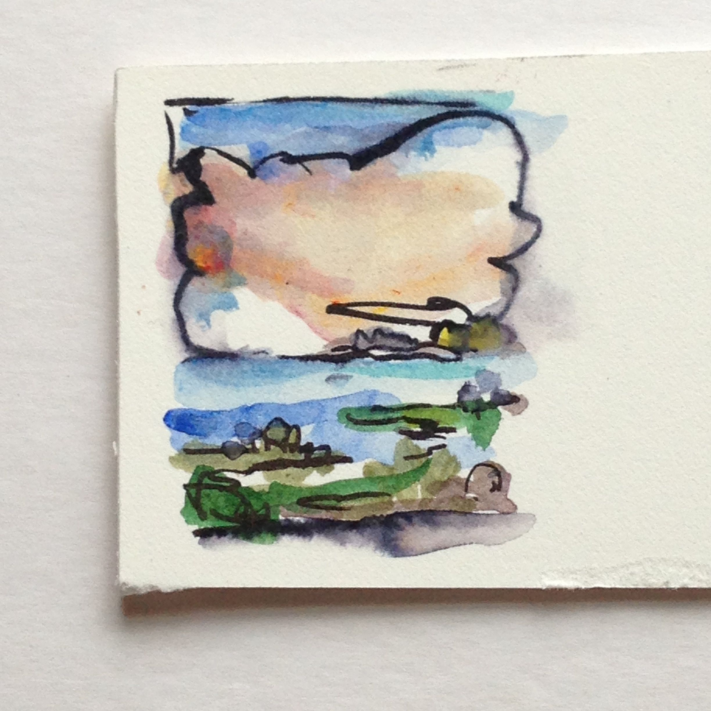 Hand Painted Acrylic On Board Really Small Maine Landscape