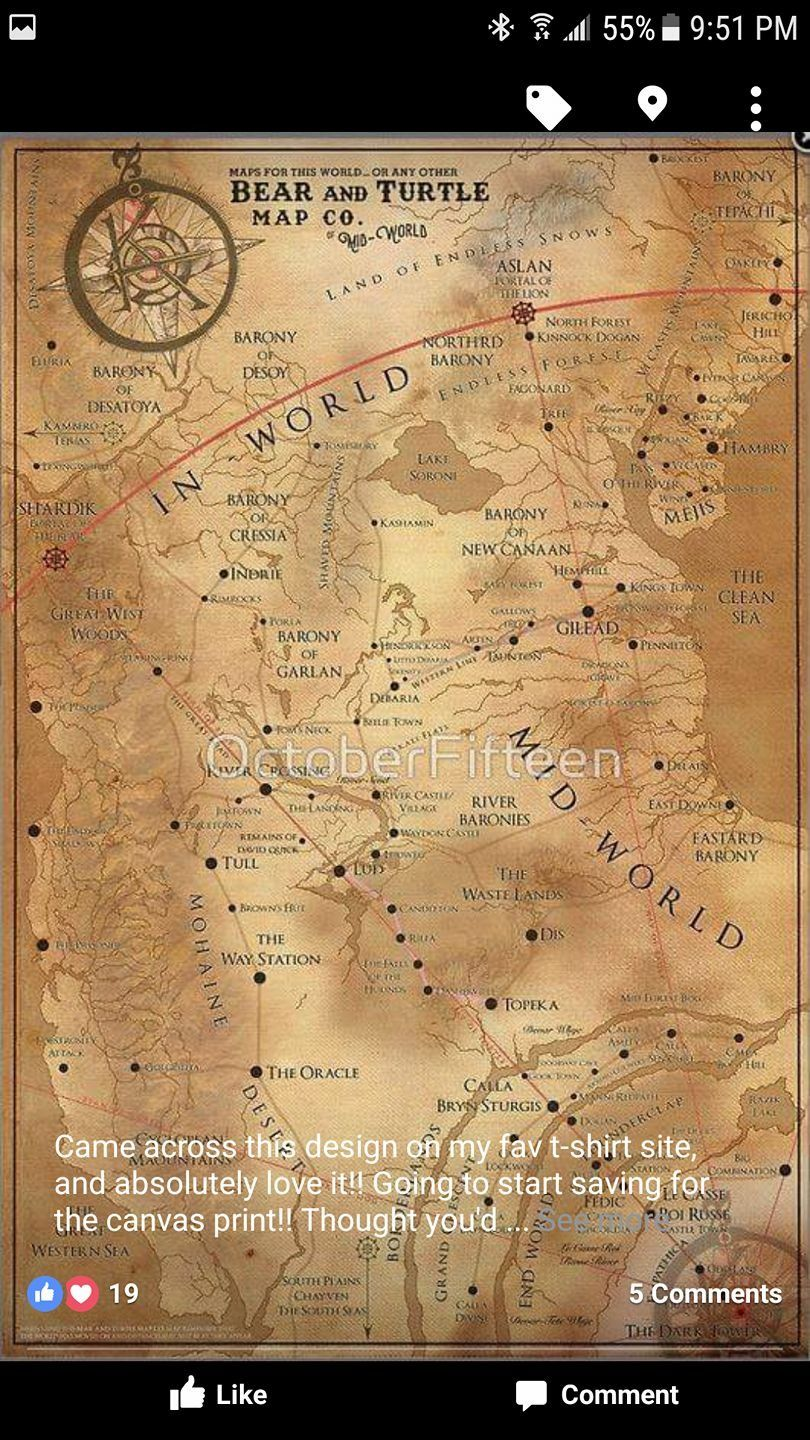 Map of Mid-World | The Dark Tower | Gunslinger dark tower, Dark ...