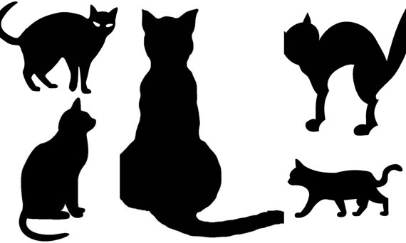 Black Cats 5 Svg Pdf Png Files Welcome Silhouette Etsy In 2020 Black Cat Svg Cats