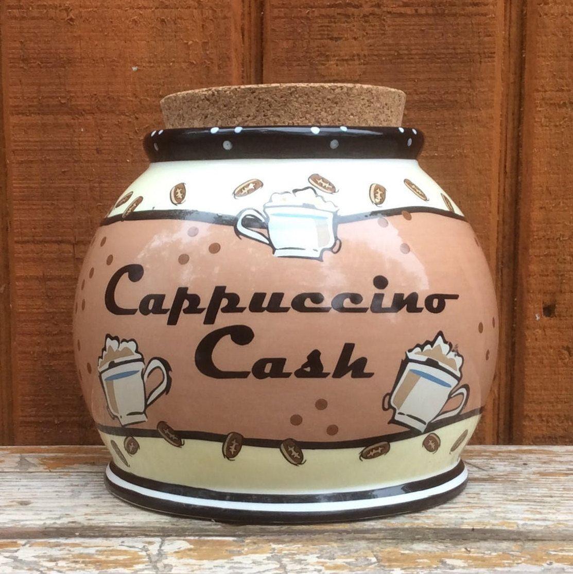 bella cassa cappuccino cash coffee storage container bank signed pottery jar and cork lid ceramic - Cork Cafe Decor