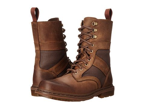 Dr. Martens Arun Fold Down Boot in Aztec Darnkened Crazy Horse / Brown Ze You Wax Canvas *Leather and canvas upper. *6-eyelet boot with three ski-hooks. -9 tie Fold down boot.