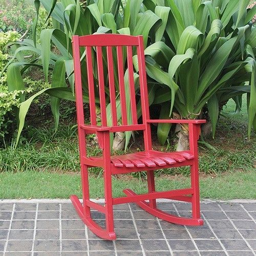 Rocking Chair Outdoor Red Wood Rocker Furniture  Antique Seat Porch garden sled