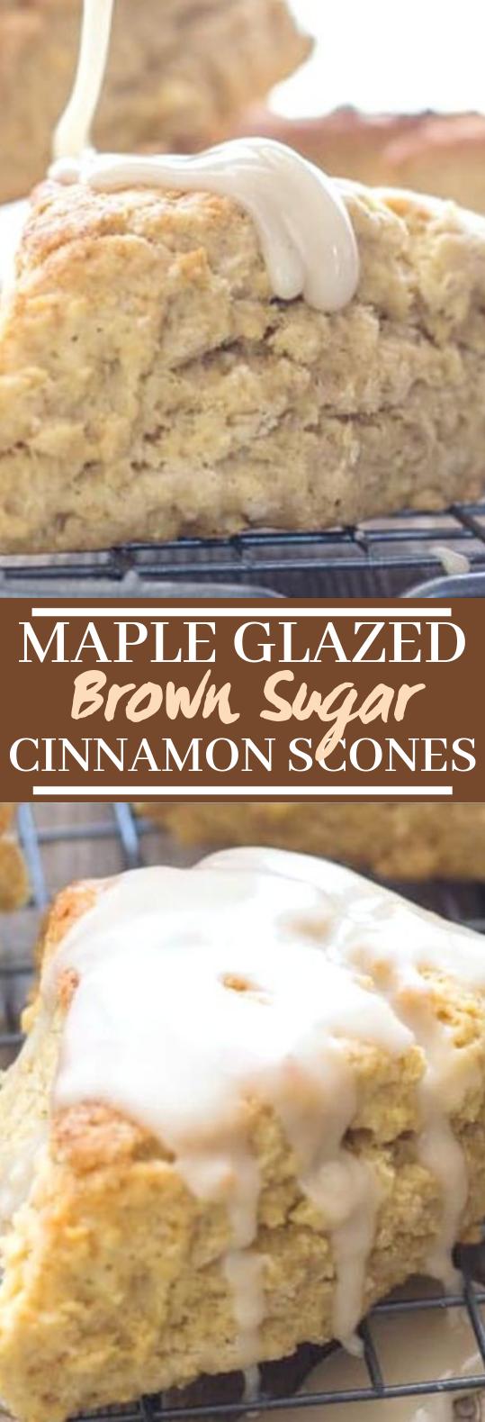 Maple Glazed Brown Sugar Cinnamon Scones #desserts #baking