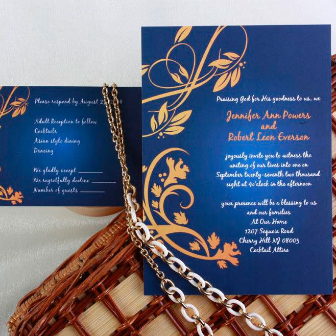 Elegant Navy Blue And Gold Damask Wedding Invitations Ewi042