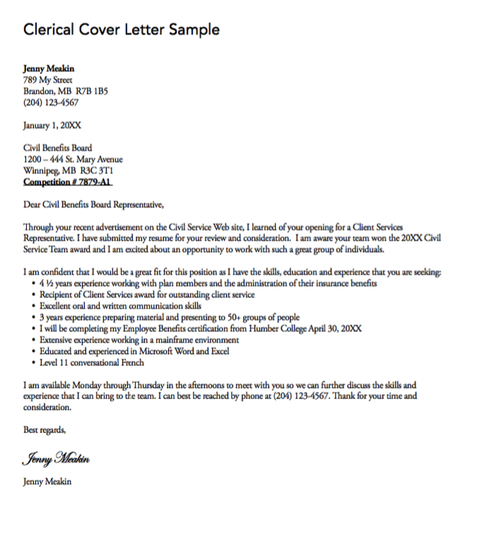 Clerical Cover Letter Sample