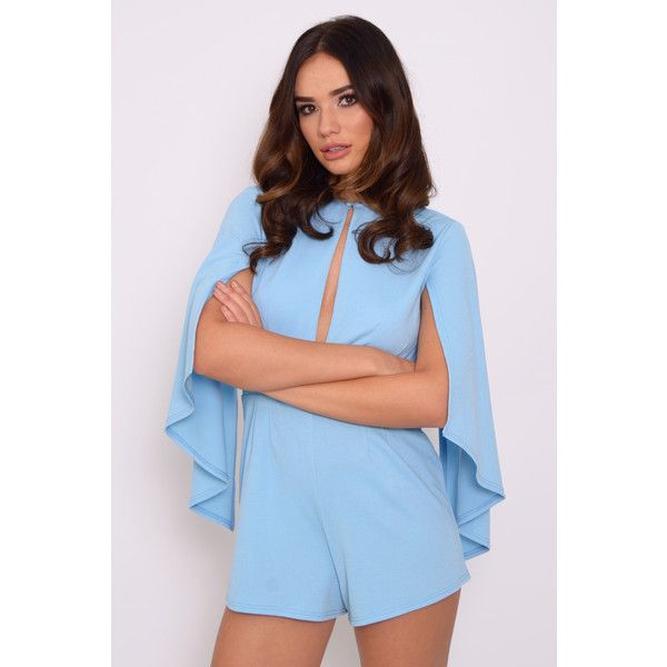 9319d29eb9b2 Rare Cornflower Blue Split Cape Sleeve Playsuit ( 12) ❤ liked on Polyvore  featuring jumpsuits