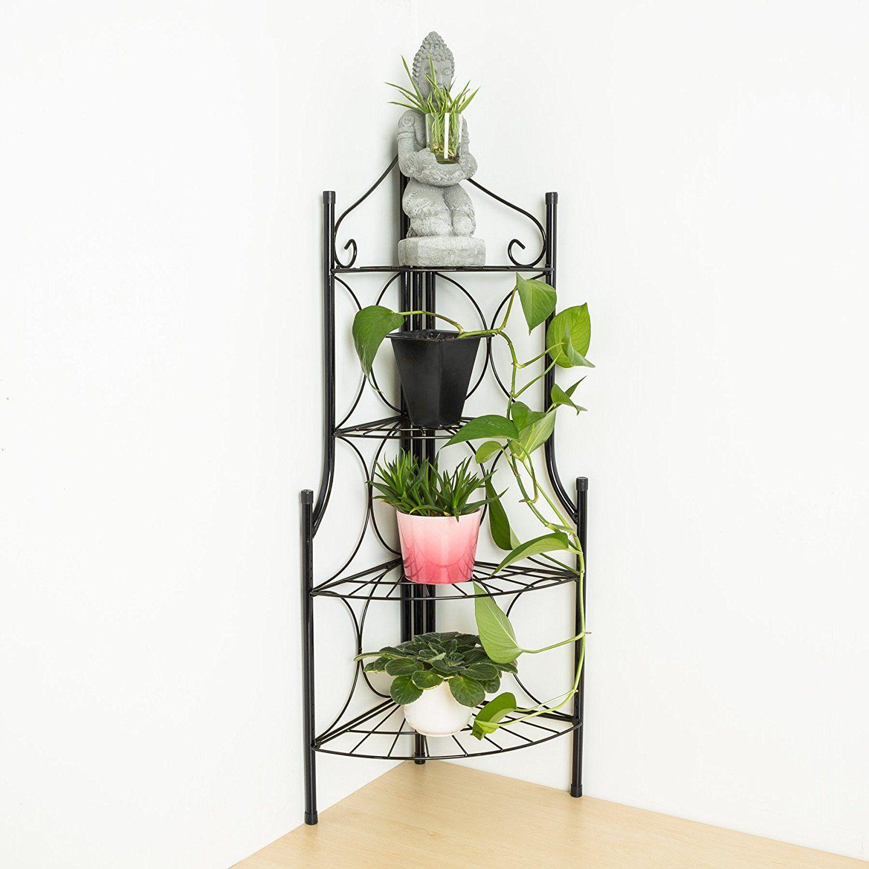TecTake 4 TIER METAL GARDEN PLANT POT DISPLAY SHELF STAND FLOWER PATIO DECK  ROUND INDOOR U0026