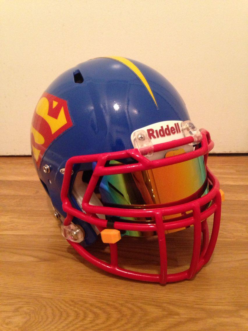 Custom Superman Football Helmet With Iridium Shoc Visor Football Helmets Cool Football Helmets Football Helmet Visors